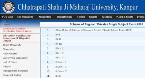 Kanpur University Exam Date Sheet